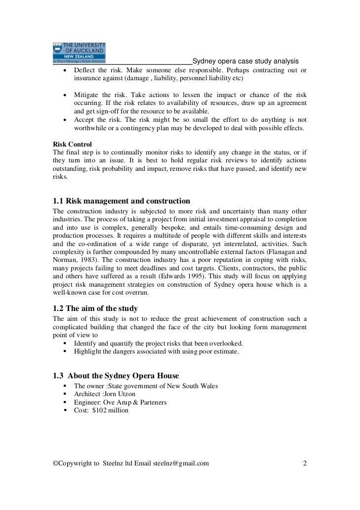 Sydney opera house project management case study