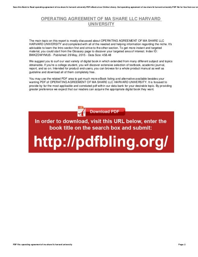 Operating Agreement Of Ma Share Llc Harvard University