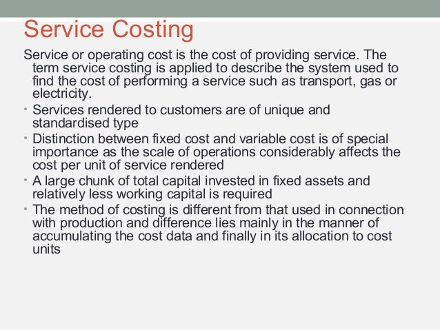 Operations and Services Costing  Slide 3