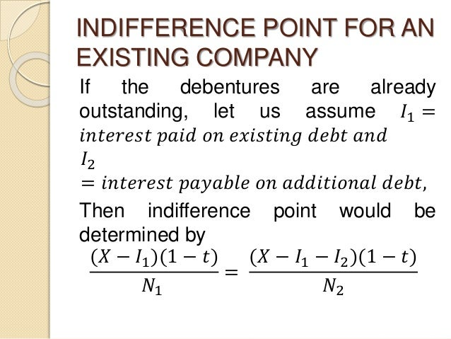 INDIFFERENCE POINT FOR AN EXISTING COMPANY If the debentures are already outstanding, let us assume 𝐼1 = 𝑖𝑛𝑡𝑒𝑟𝑒𝑠𝑡 𝑝𝑎𝑖𝑑 𝑜𝑛 ...