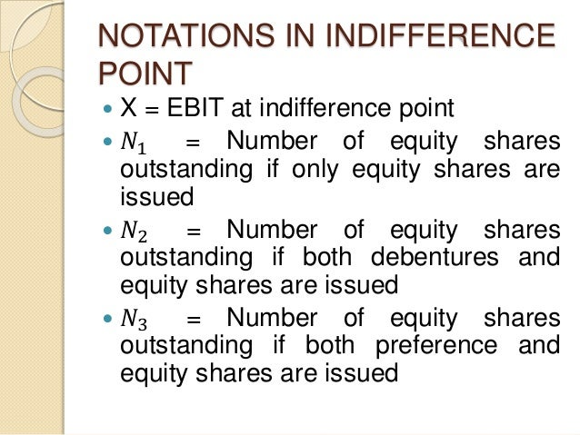 NOTATIONS IN INDIFFERENCE POINT  X = EBIT at indifference point  𝑁1 = Number of equity shares outstanding if only equity...