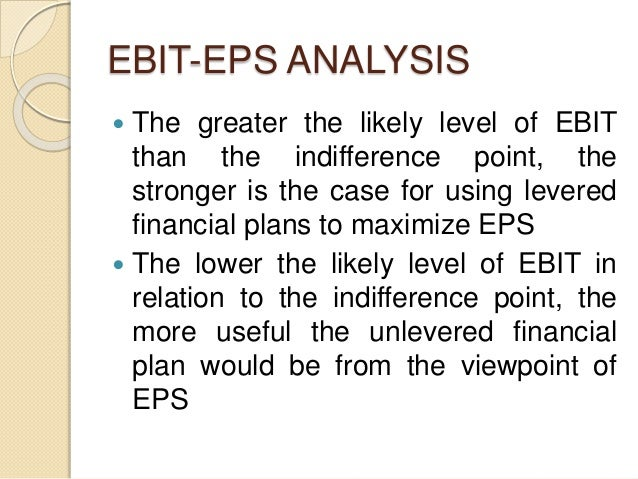 EBIT-EPS ANALYSIS  The greater the likely level of EBIT than the indifference point, the stronger is the case for using l...