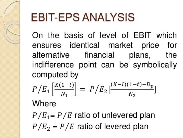 EBIT-EPS ANALYSIS On the basis of level of EBIT which ensures identical market price for alternative financial plans, the ...
