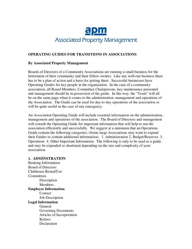 OPERATING GUIDES FOR TRANSITIONS IN ASSOCIATIONS  By Associated Property Management  Boards of Directors of a Community As...