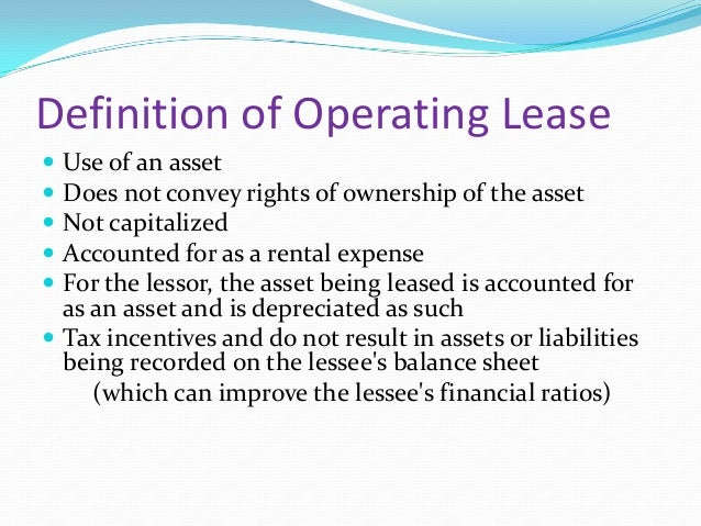 Operating Lease Definition Car