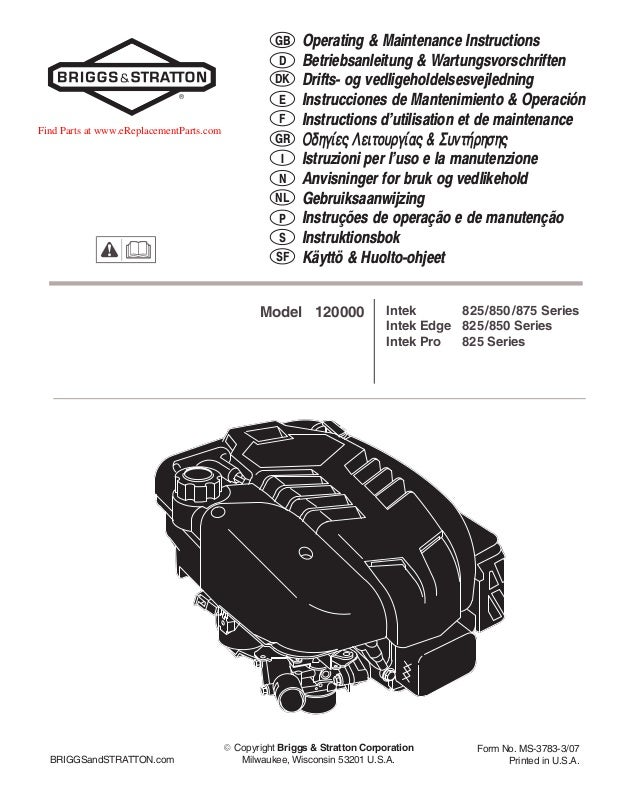 operating maintenance instructions manual briggs and stratton rh slideshare net Briggs and Stratton Replacement Parts Briggs and Stratton Number Lookup