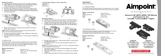 Operating manual AIMPOINT LRP, QRP2, QRW2, TNP Mounts
