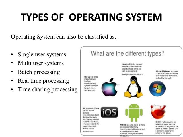 operating system and different types Operating system types - learning operating system concepts in simple and easy steps : a beginner's the main difference between multiprogrammed batch systems and time-sharing systems is remote access to servers is possible from different locations and types of systems.