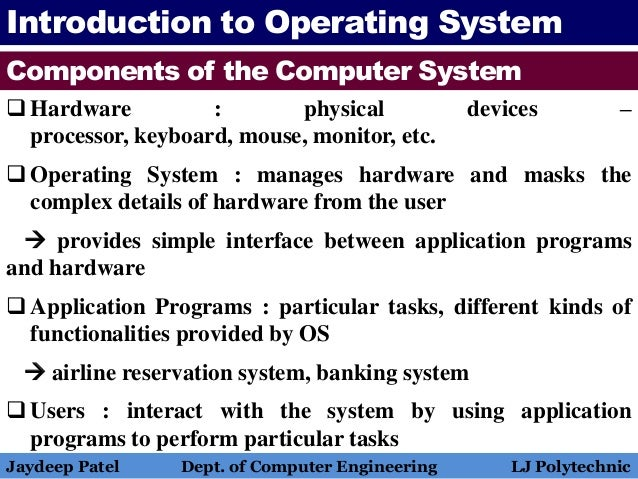 Operating System Introduction To Operating System