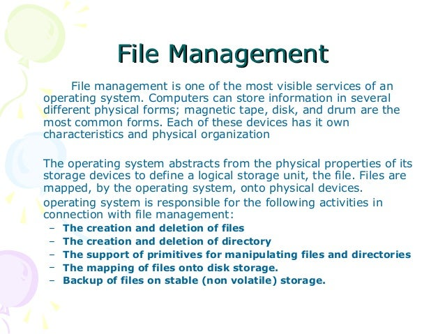 operating system file systems What are operating systems an operating system (os) the file system is the part of the os in charge of managing persistent data.
