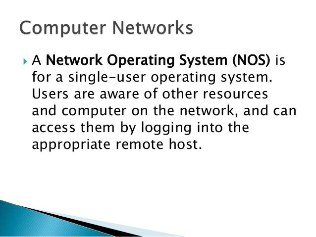 Operating Systems - Network Management