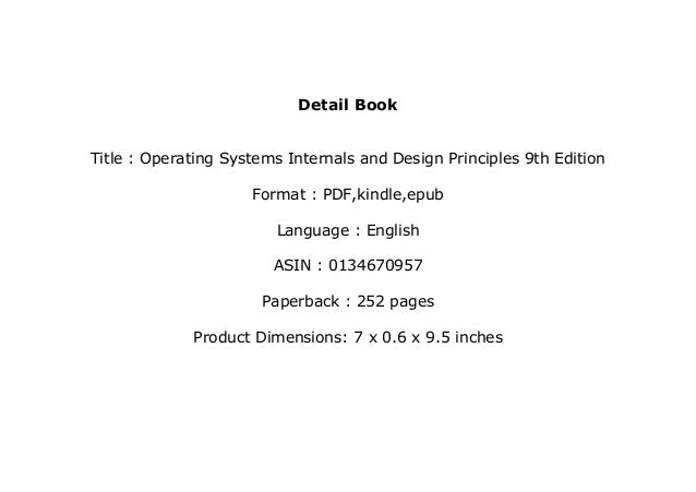 Ebook Library Operating Systems Internals And Design Principles 9th