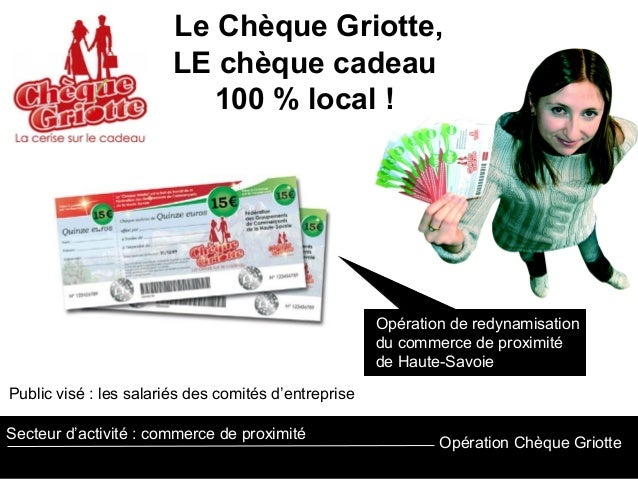 Opération Chèque Griotte Secteur d'activité : commerce de proximité Le Chèque Griotte, LE chèque cadeau 100 % local ! Opér...