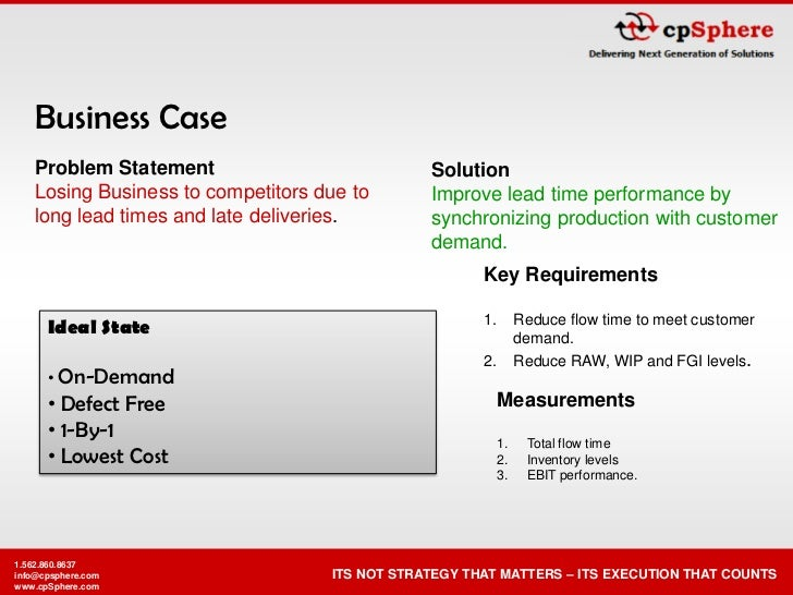 Business Case    Problem Statement                           Solution    Losing Business to competitors due to       Impro...