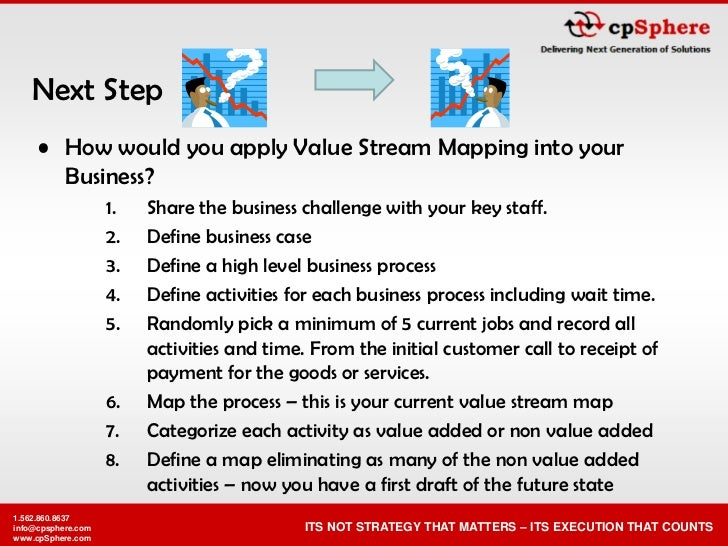 Next Step      • How would you apply Value Stream Mapping into your        Business?                     1.   Share the bu...