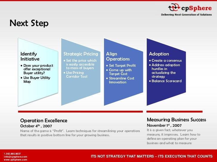 Next Step               Identify                   Strategic Pricing           Align                      Adoption        ...