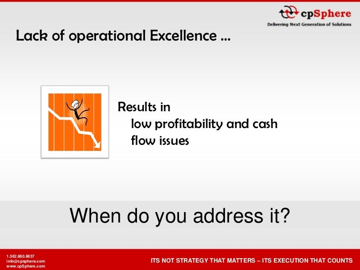 Lack of operational Excellence …                             Results in                            low profitability and c...