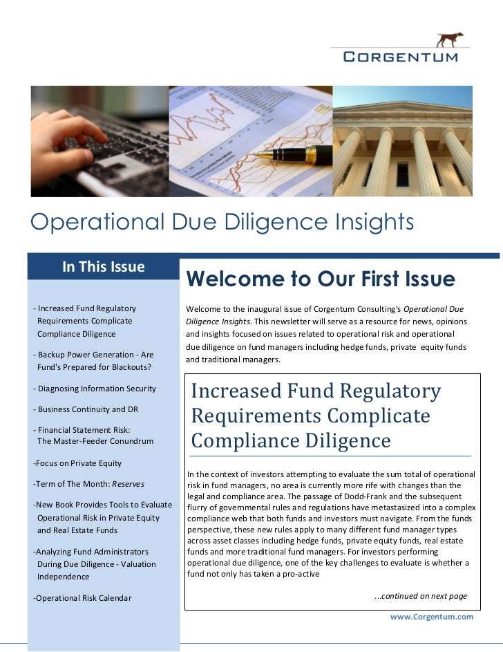 Operational Due Diligence Insights       In This Issue                                       Welcome to Our First Issue- I...