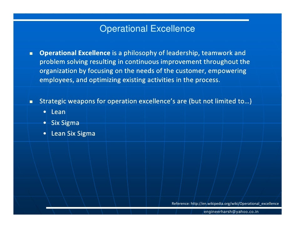 Operational excellence through lean &