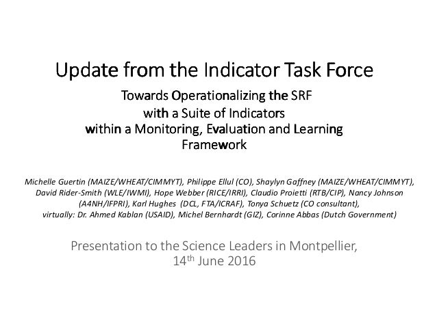 Towards Operationalizing The Srf With A Suite Of Indicators Within A