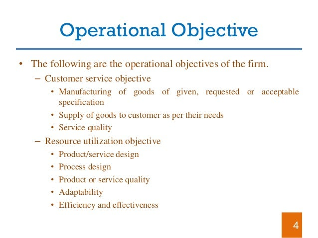Environment as an operations objective