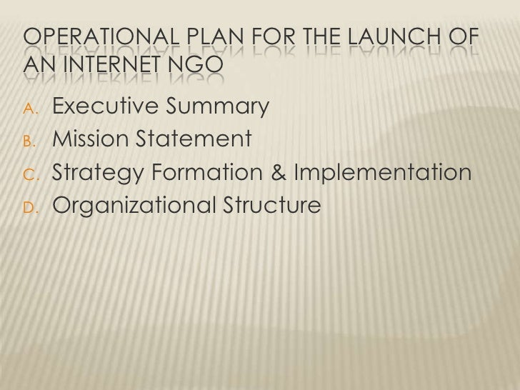 Operational Plan for the Launch of an Internet NGO<br />Executive Summary<br />Mission Statement<br />Strategy Formation &...