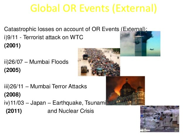 Global OR Events (External)  Catastrophic losses on account of OR Events (External):  i)9/11 - Terrorist attack on WTC  (2...