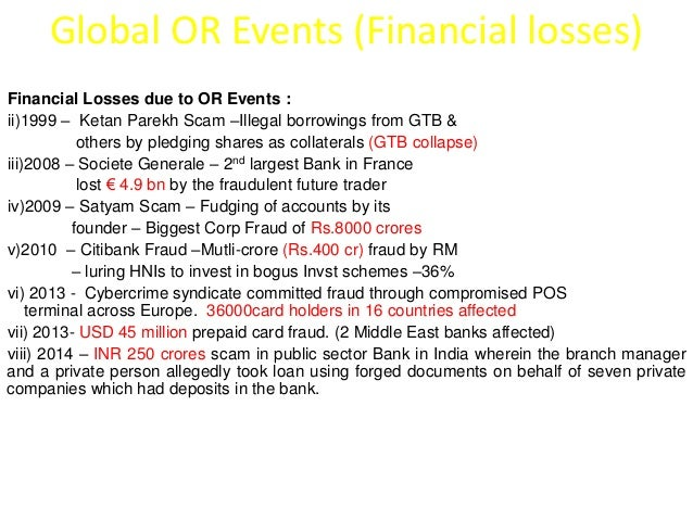 Global OR Events (Financial losses)  Financial Losses due to OR Events :  ii)1999 – Ketan Parekh Scam –Illegal borrowings ...