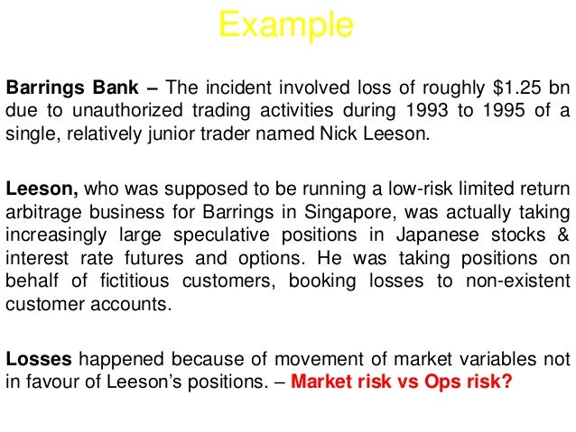 Example  Barrings Bank – The incident involved loss of roughly $1.25 bn  due to unauthorized trading activities during 199...
