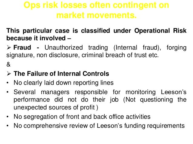 Ops risk losses often contingent on  market movements.  This particular case is classified under Operational Risk  because...