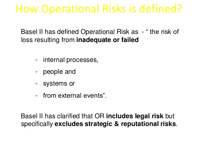 """How Operational Risks is defined?  Basel II has defined Operational Risk as - """" the risk of  loss resulting from inadequat..."""