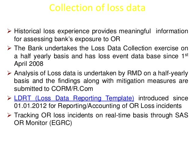 Collection of loss data   Historical loss experience provides meaningful information  for assessing bank's exposure to OR...