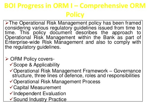BOI Progress in ORM II – Business Line Mapping   Mapping of products to business lines through  Risk Registers  Bank`s to...
