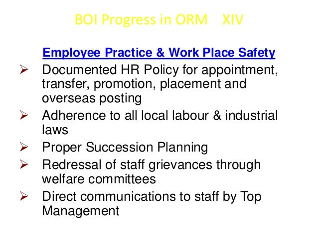 BOI Progress in ORM XV  Outsourcing Risk Management   Laid down procedures for selection of  panel of vendors   Fool Pro...
