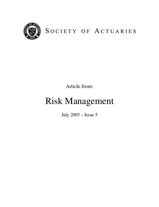 Article from: Risk Management July 2005 – Issue 5