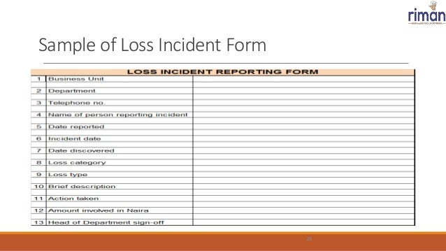 sample of loss incident form 28