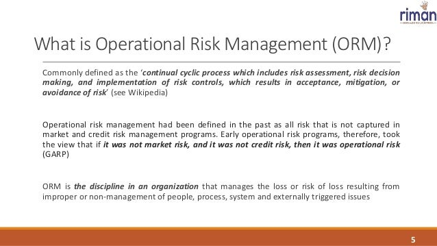 Operational Risk Management - A Gateway to managing the risk profile…