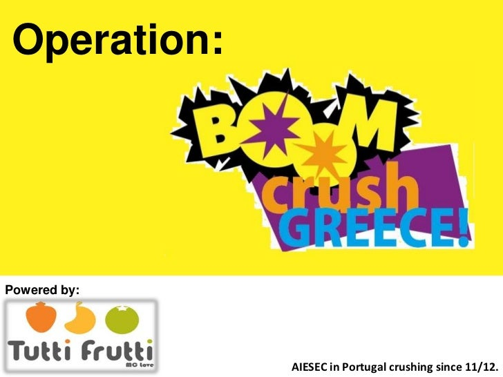 Operation:Powered by:              AIESEC in Portugal crushing since 11/12.