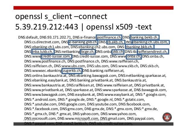 openssl s_client –connect  5.39.219.212:443 | openssl x509 -text  DNS:default, DNS:93.171.202.71, DNS:e-finance.postfinanc...