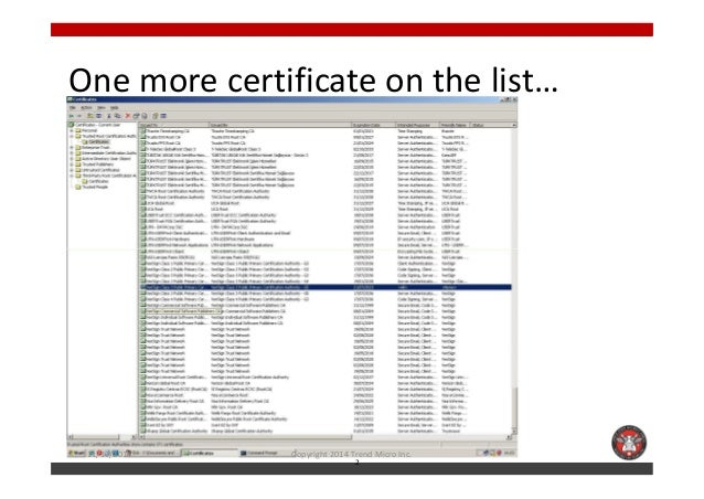 One more certificate on the list…  11/10/2014 Copyright 2014 Trend Micro Inc.  2