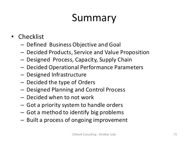 the goal operations management