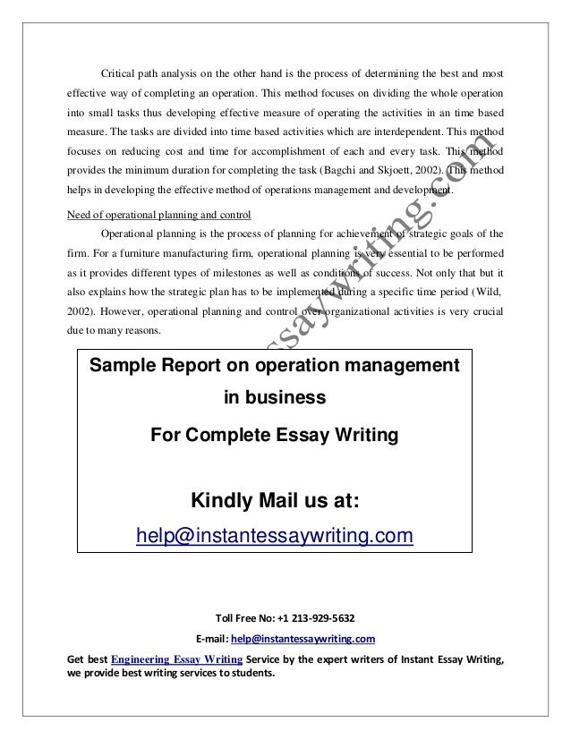 sample on operation management in business by instant essay writing 12