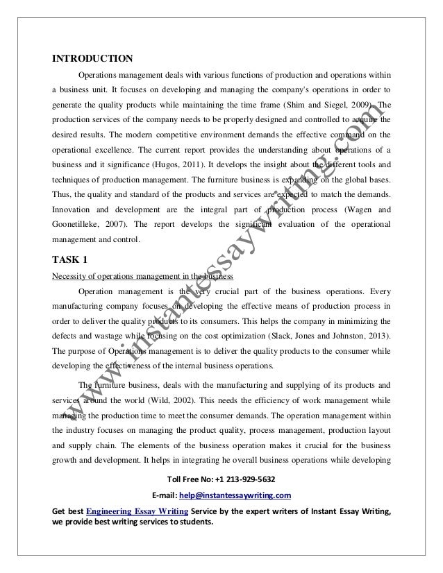 Sample on operation management in business by instant essay writing