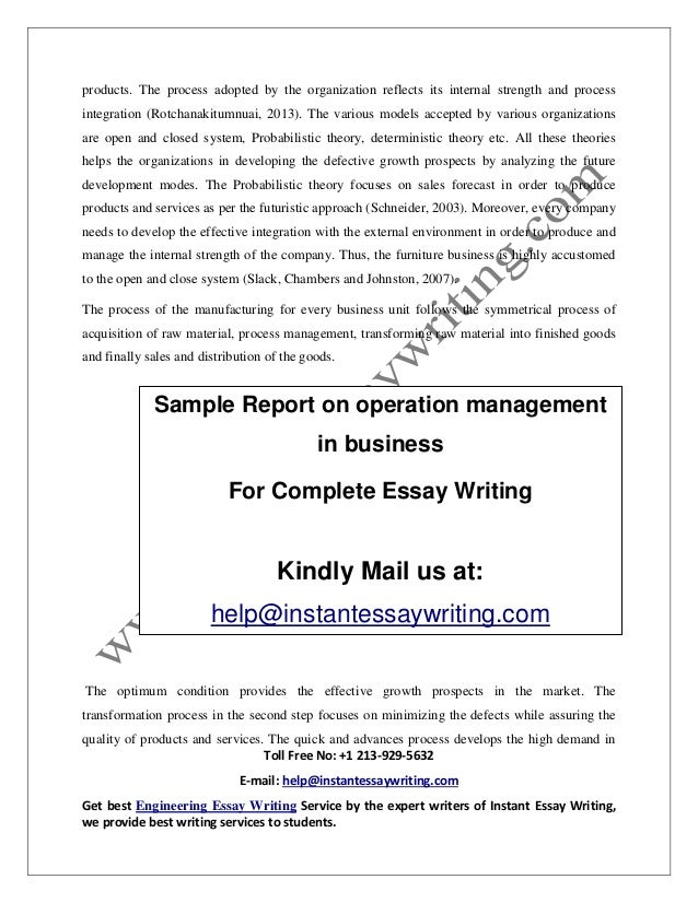 sample on operation management in business by instant essay writing  finished 7