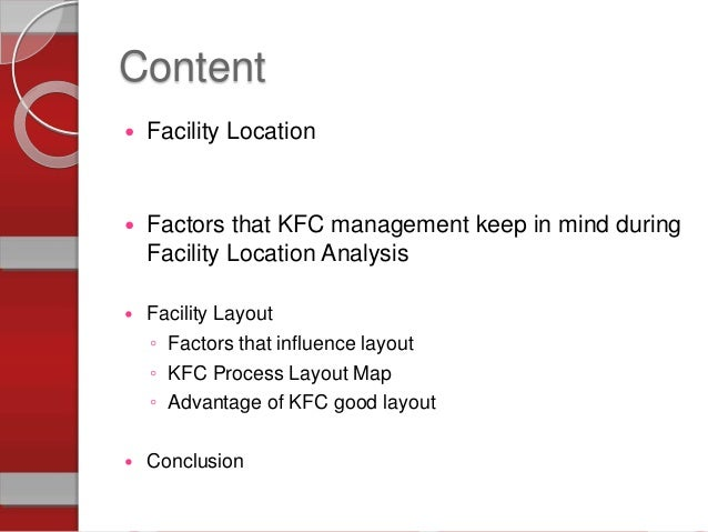 kfc environmental factors The fast food brands like mcdonalds, kfc, dominos, subway and  in their  external environment there are many factors that influence growth.