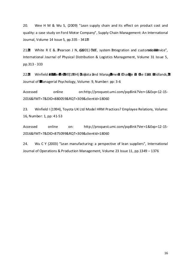 toyota operations management paper Toyota: operations management paper 2072 words | 9 pages quality control management kristi goddard capella university mba6022 .