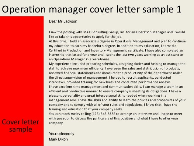 Superior Operation Manager Cover Letter ...  Operations Manager Cover Letter