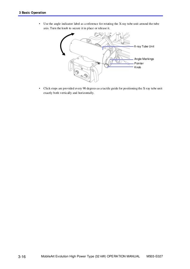 Operation manual m503e027a x ray tube unit angle markings pointer 70 ccuart Images
