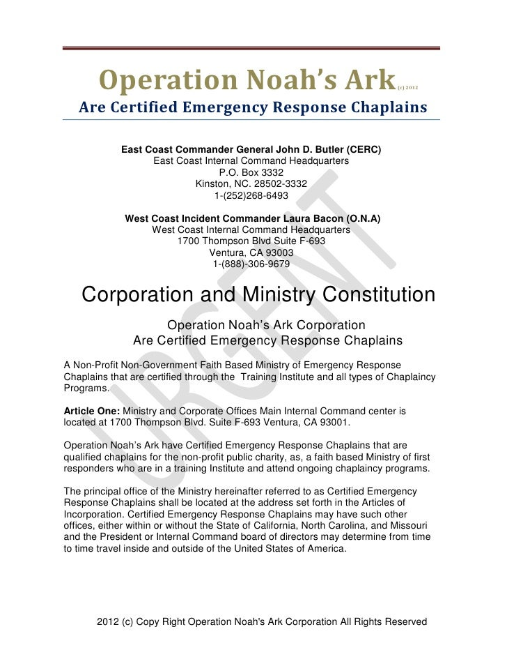 Operation Noah's Ark                                                     (c) 2012   Are Certified Emergency Response Chapl...