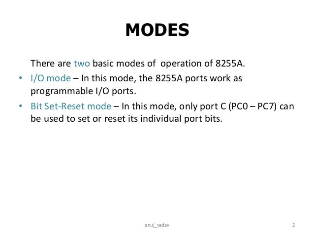 Operation of 8255A Slide 2